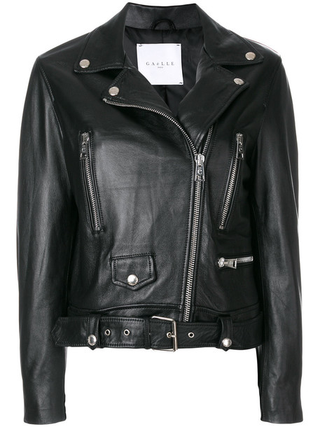 Gaelle Bonheur jacket cropped women bike leather black