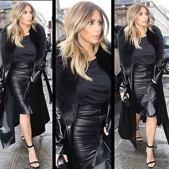 little black dress skirt kim kardashian celeb celebrity leather ruffled pencil skirt black skirt givenchy little black skirt