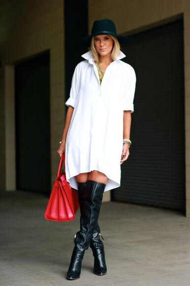 blogger bag white shirt the courtney kerr jewels hat thigh high boots