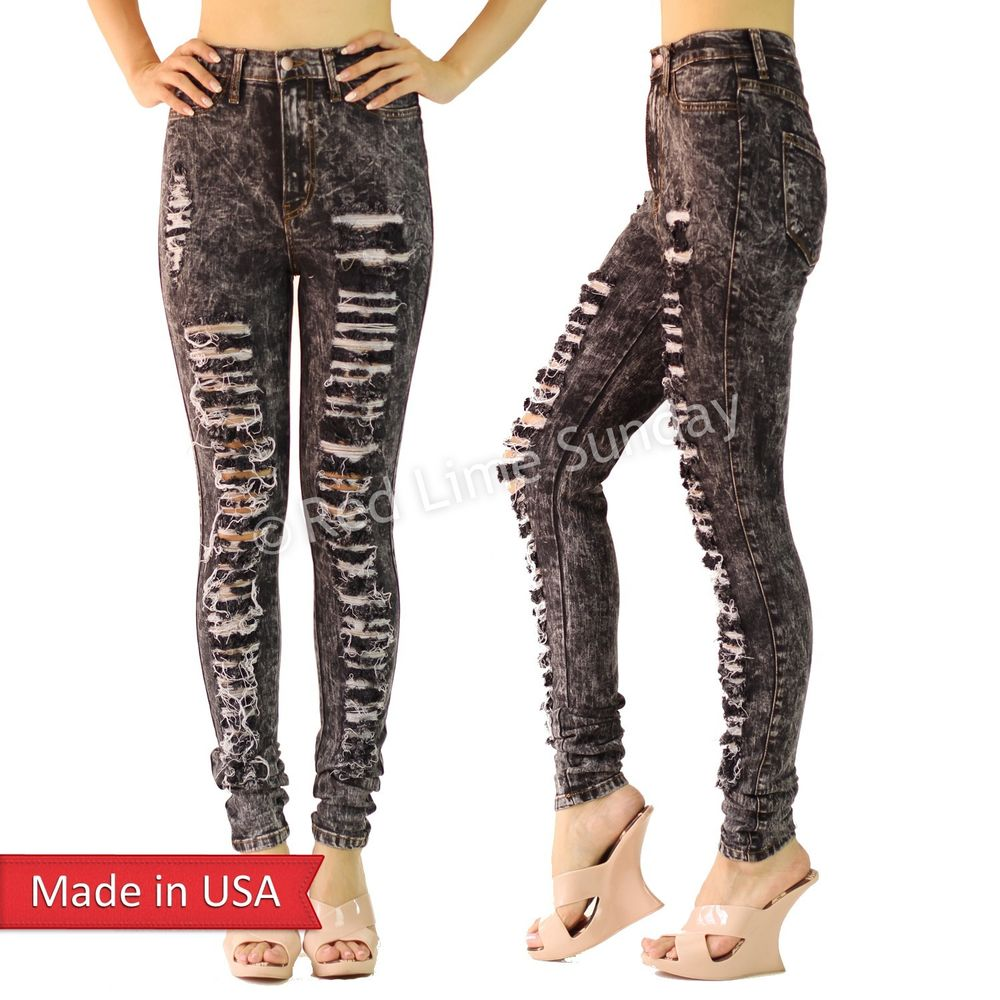 Hot High Waist Acid Mineral Wash Ripped Distressed Skinny Shred Jeans Pants USA