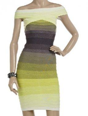2011herve leger light color classic striped bandage dress [001]
