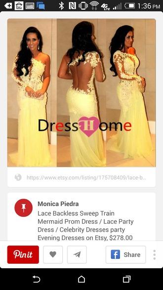 dress yellow dress lace dress prom dress long prom dress