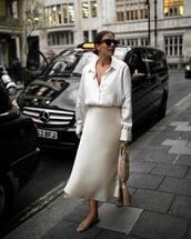 skirt,midi skirt,silk,slide shoes,oversized shirt,white shirt,sunglasses,handbag