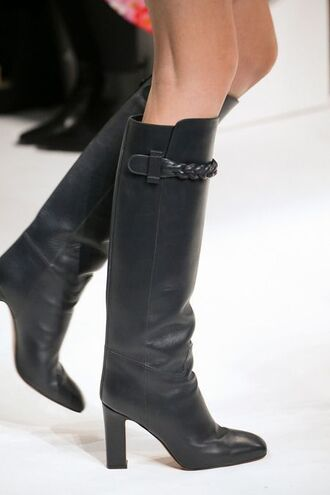 shoes leather boots black heels valentino