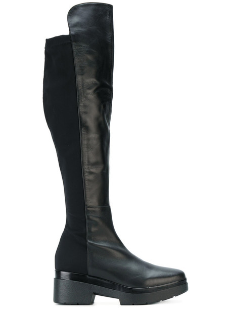 Albano high women knee high knee high boots leather black shoes