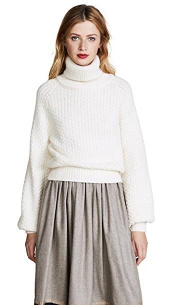 ROSSELLA JARDINI turtleneck knit white sweater