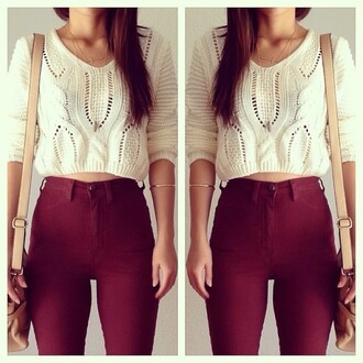 jeans high waisted jeans burgundy shirt blouse cropped sweater fall outfits pants sweater white