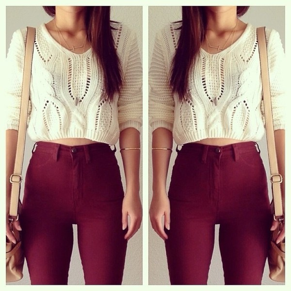 jeans high waisted jeans burgundy shirt blouse cropped sweater fall outfits fall outfits