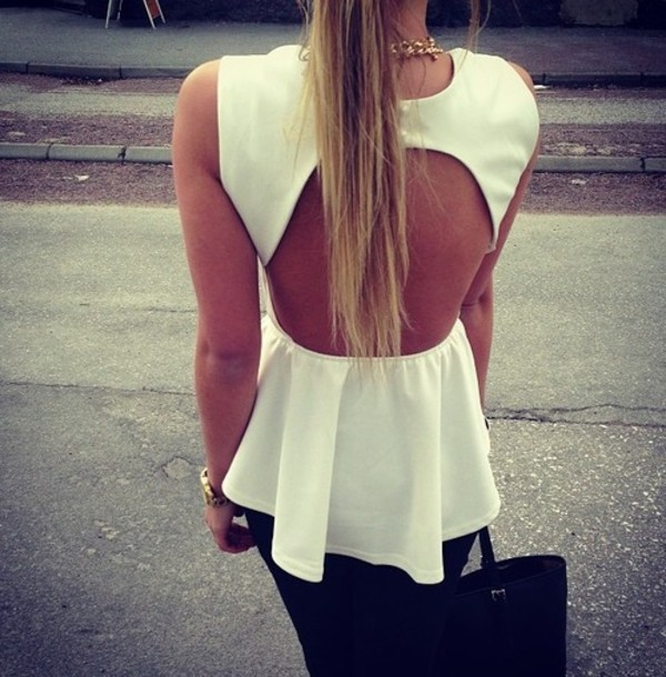 shirt top white peplum white peplum top tank top cut offs white blouse t-shirt backless blouse cute