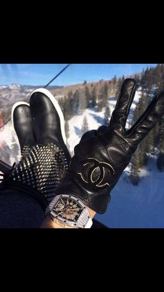 leather hat black gloves gloves leather gloves chanel gloves chanel lether boots chanel logo spiked shoes lether gloves