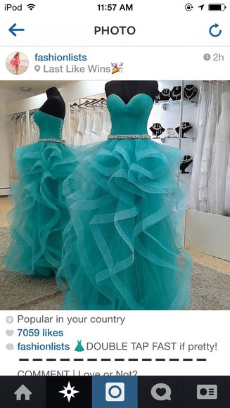 turquoise prom dress prom diamonds organza long strapless wedding dress evening gown evening dress corset dress dress blue dress