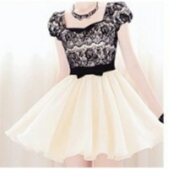 cream dress pastel dress bow dress black and white dress