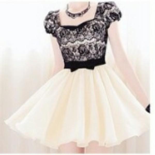 pastel dress cream dress bow dress black and white