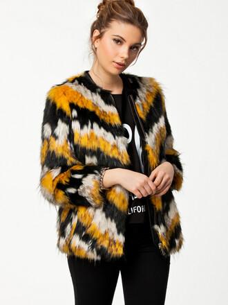 black white jacket yellow fur faux faux fur faux fur jacket fur jacket