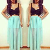 skirt,outfit,ootd,girl,brunette,blue,turqouise,long skirt,tank top,top,crop tops,black top crop top,black,jewels,style