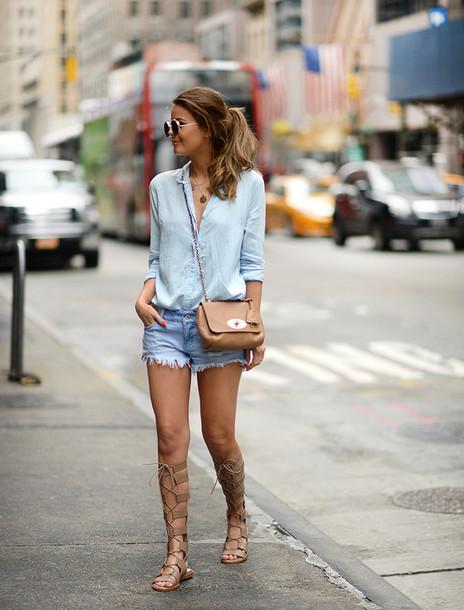 blouse, denim, blue jeans, light blue, short shorts, short ...