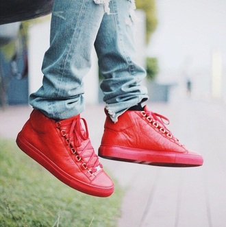 shoes balenciaga red arena