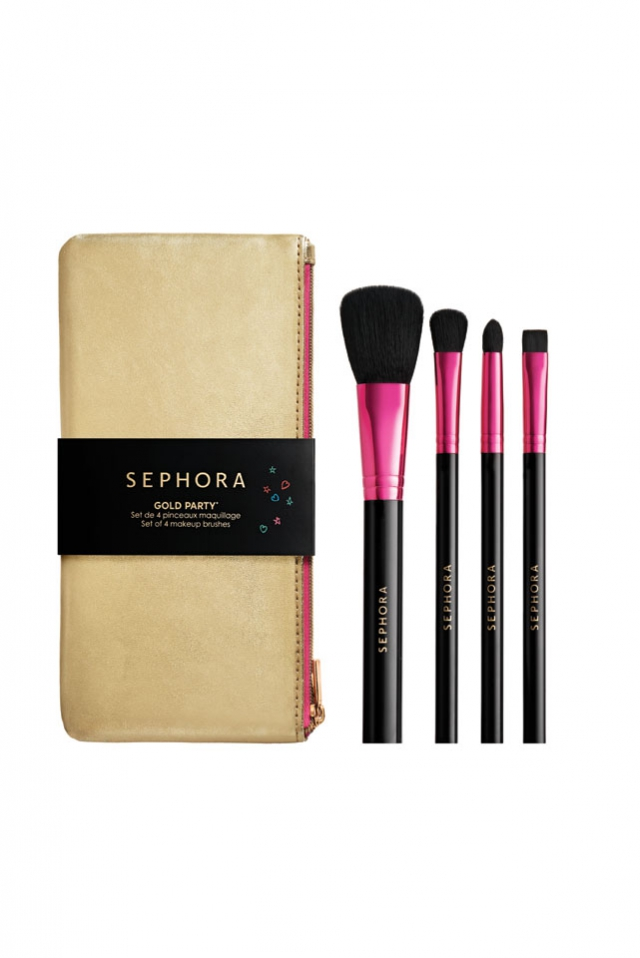 sephora makeup brush set. sephora, gold party set of 4 makeup brushes - sephora beauty studio brush