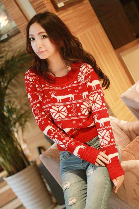 New 2013 Fall Fashion high quality long sleeve red christmas sweater deer sweater pullover women reindeer sweater-in Pullovers from Apparel & Accessories on Aliexpress.com