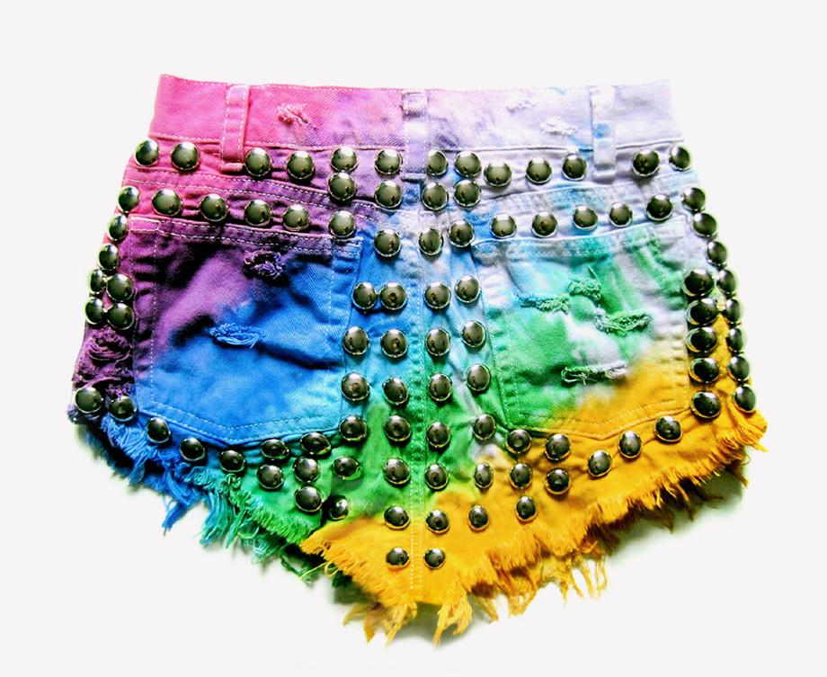 820 Vintage Technicolor Studded Shorts | RUNWAYDREAMZ