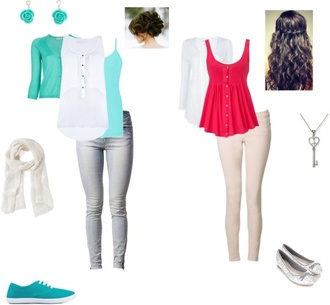 blouse shoes pants top shirt scarf necklace earrings undershirt hair tutorial