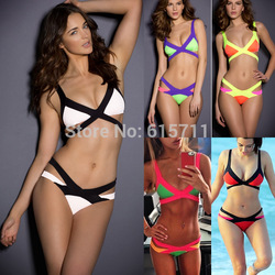 Online Shop 2014 Hottest Sexy Women Bandage Bra Padded Bikini Swimwears for women Halter Swimsuit Brand New Swimsuit size S/M/L 5 Color|Aliexpress Mobile