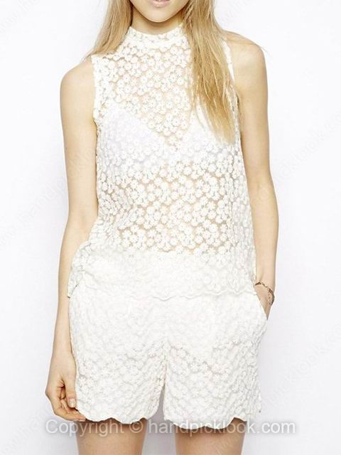 White High Neck Sleeveless Embroidery Vest - HandpickLook.com