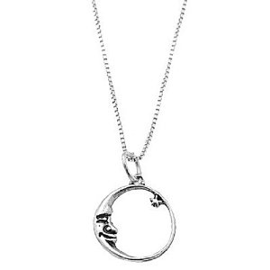 Amazon.com: Sterling Silver One Sided Crescent Moon Face with Star Necklace: Jewelry