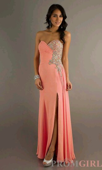 coral dress prom dress strapless bling