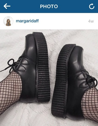 shoes creepers black goth grunge platform shoes