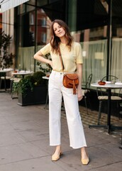 bag,jeans,white jeans,wide leg,top,yellow top,shoes,crossbody bag