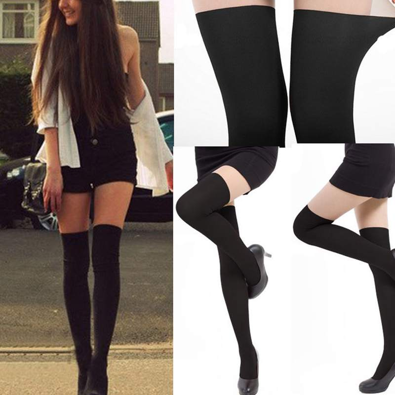 2014 moda mujeres sexy negro tintados sheer falso alta stocking panti medias del tatuaje en medias de moda y complementos en aliexpress.com