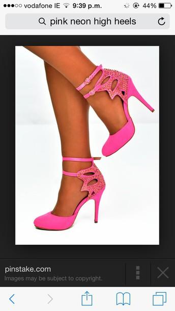 shoes pink neon pink high heels