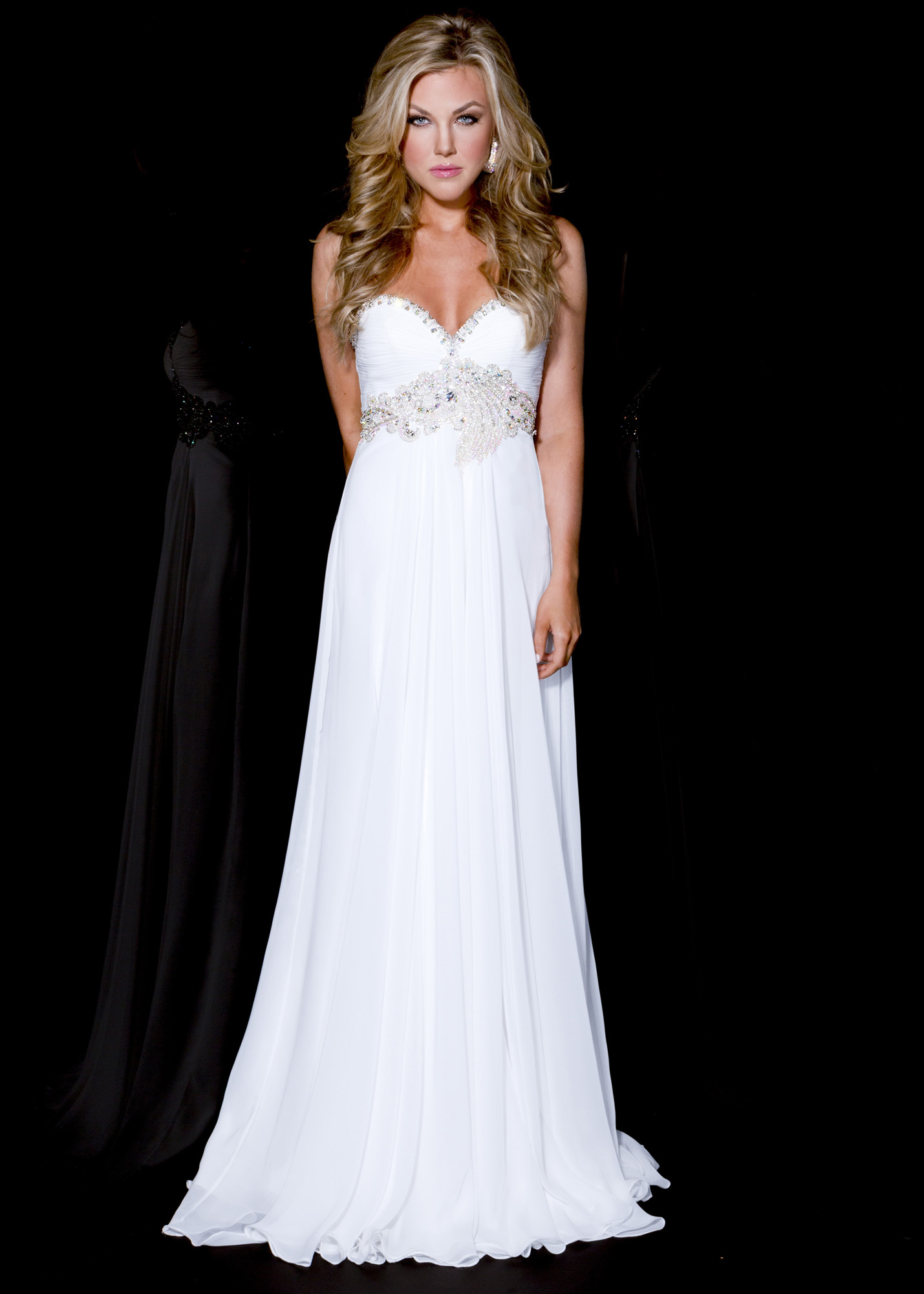 Couture 4831 - White Strapless Chiffon Dress - RissyRoos.com ...