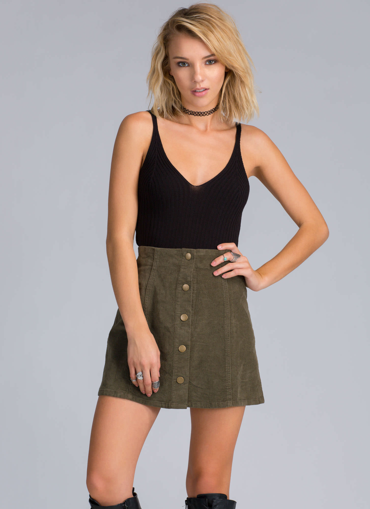 11e88239183c Schoolyard Button-Up Mini Skirt OLIVE CAMEL - GoJane.com