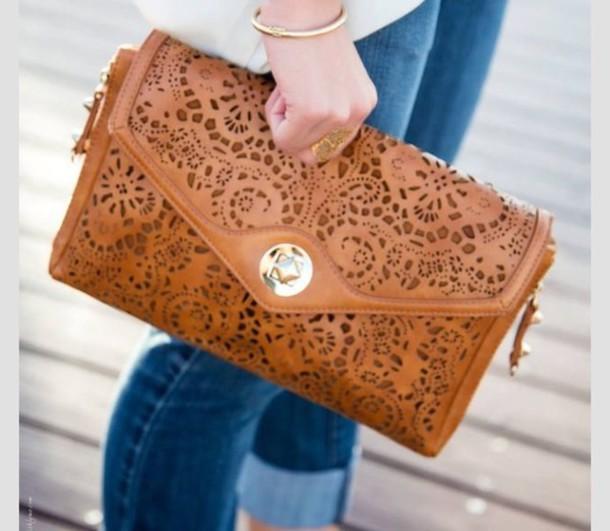 bag jewels jeans bracelets clutch unique bag lovely bag vintage wallet wallett beige caramel leather handbag