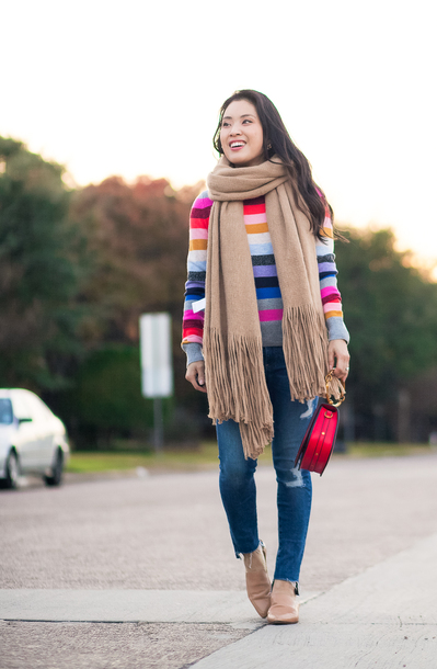 cute & little blogger jeans scarf multicolor fall outfits winter outfits loafers skinny jeans