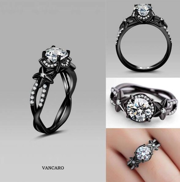 Black Flower Style Cubic Zirconia 925 Sterling Silver Black Engagement Ring a