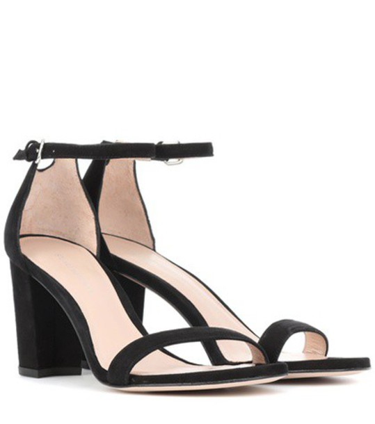 STUART WEITZMAN sandals suede black shoes