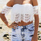 White off the shoulder lace crop blouse -shein(sheinside)