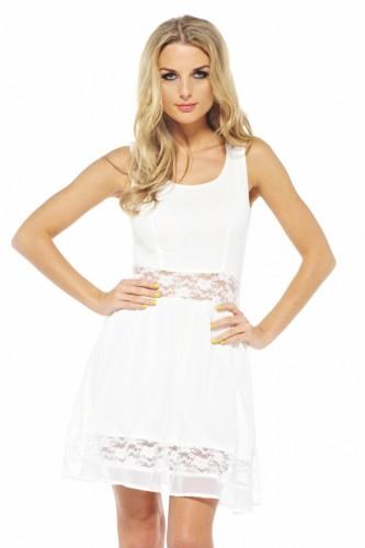 White lace cutout chiffon dress