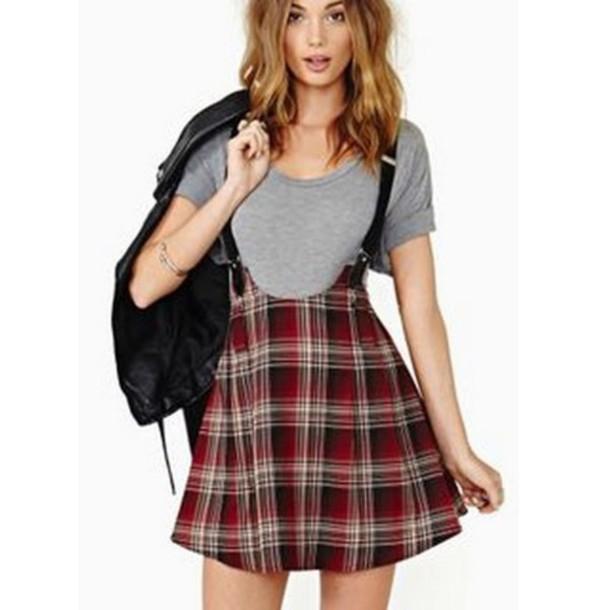 skirt skirt with suspenders unif punk tartan tartan skirt