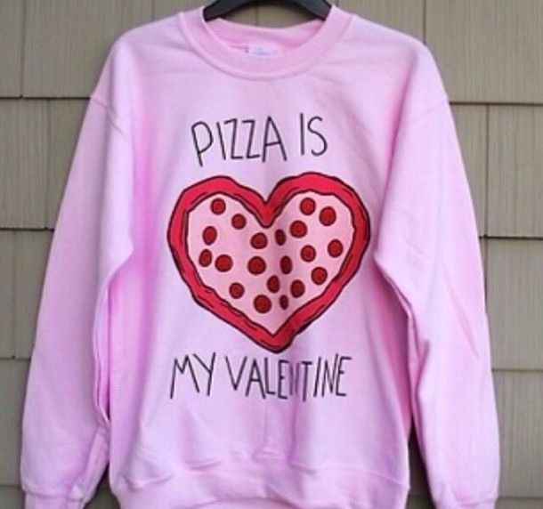 Pizza is my valentine pink crew neck sweater sweatshirt jumper size small