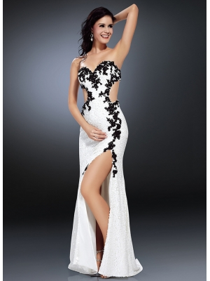 Buy Modern Sheath/Column Sweetheart Neckline Beadings Embroidery Sweep Train Chiffon Evening Dress  under 500-SinoAnt.com