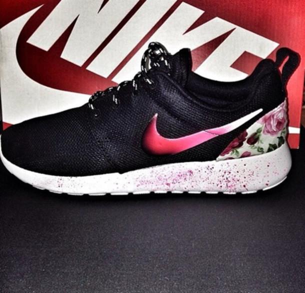 pretty nice c333e 6f495 shoes nike nike roshe run floral pretty pink painting splatter nike roshe  run nike roshe run