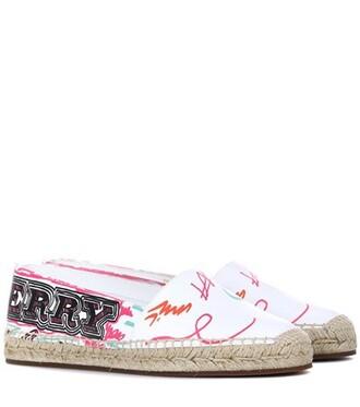 espadrilles cotton print white shoes