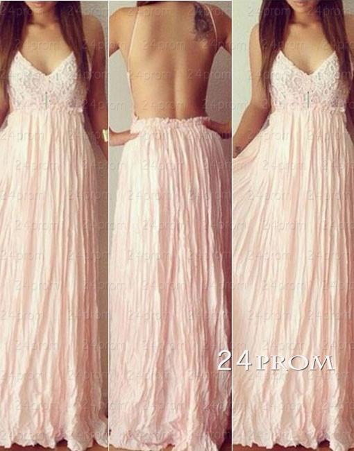 Line backless pink chiffon long prom dresses,formal dresses