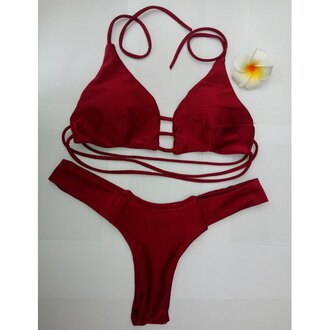 swimwear bikini red fashion summer trendy hot beach rose wholesale-ma