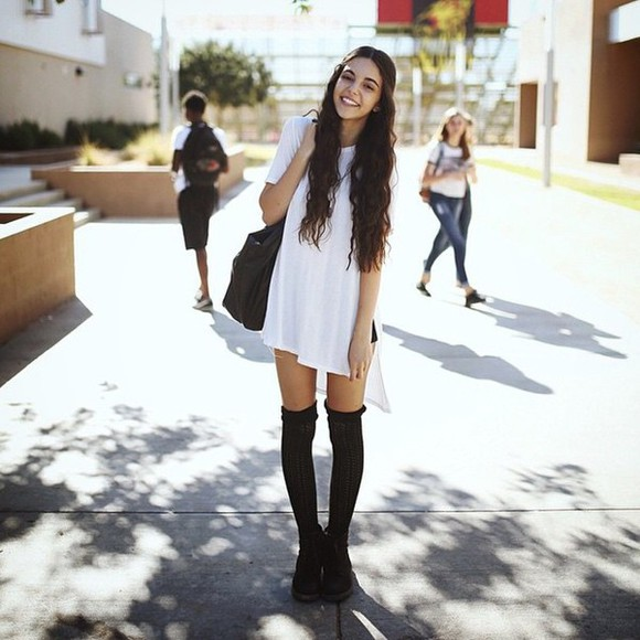 oversized oversized t-shirt white over knee socks white t-shirt longshirt long socks black socks