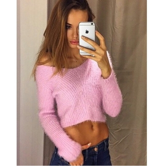 sweater girly on point on point clothing pink sweater fuzzy sweater cropped sweater body goals fresh stylish trending trendy trend